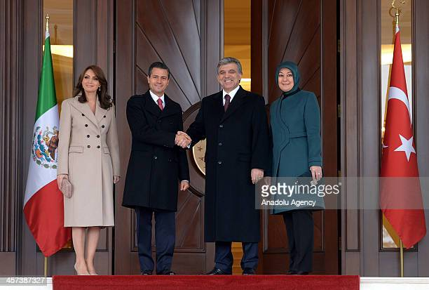 Turkish President Abdullah Gul , his spouse Hayrunnisa Gul , Mexican President Enrique Pena Nieto and his spouse Angelica River pose during a...