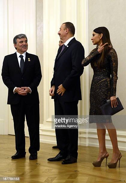 Turkish President Abdullah Gul hosts a dinner in honor of Azerbaijani President Ilham Aliyev at Cankaya Presidential Palace on November 12 2013 in...