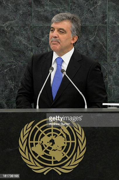 Turkish President Abdullah Gul speaks at the 68th United Nations General Assembly on September 24 2013 in New York City Over 120 prime ministers...