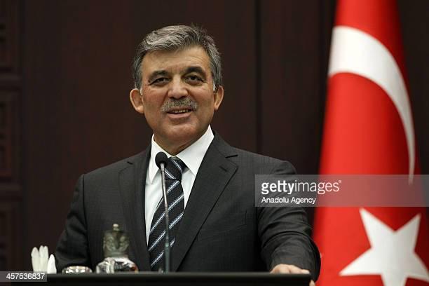 Turkish President Abdullah Gul speaks during a press conference with Moldova's President Nicolae Timofti on December 18, 2013 in Ankara, Turkey....