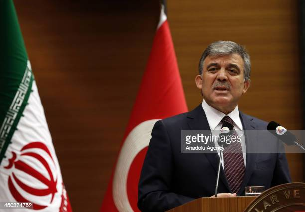 Turkish President Abdullah Gul speaks during the TurkeyIran Business Forum at the Union of Chambers and Commodity Exchanges of Turkey building in...