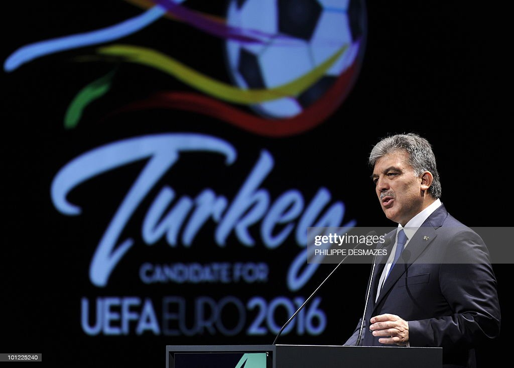 Turkish president Abdullah Gul talks during his country's presentation as they bid for the 2016 European football championships on 28 May, 2010 in Geneva. France, Turkey and Italy are bidding to host the tournament with UEFA set to reveal the winning country after final presentations today.
