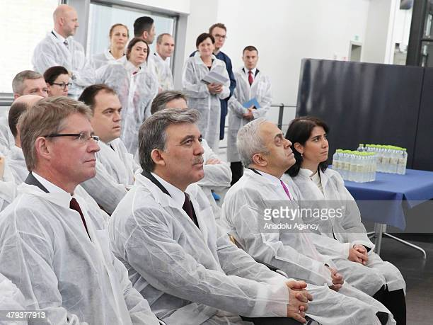 Turkish president Abdullah Gul visits Novo Nordisk on the second day of his official visit in the capital Copenhagen Denmark on March 18 2014