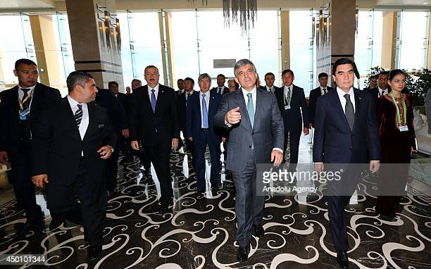 Turkish President Abdullah Gul welcomes Gurbanguly Berdimuhamedow President of Turkmenistan Azerbaijan President lham Aliyev and Kyrgyzstan President...