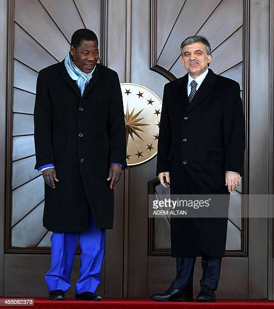 Turkish President Abdullah Gul welcomes his counterpart from Benin Thomas Yayi Boni during a welcoming ceremony held at Cankaya presidential Palace...