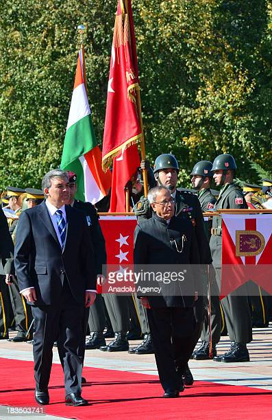Turkish President Abdullah Gul welcomes his Indian conterpart Pranab Mukherjee with official ceremony on October 7 in Ankara the capital of Turkey...