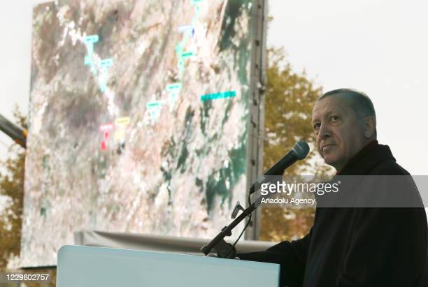 Turkish President and leader of the Justice and Development Party Recep Tayyip Erdogan makes a speech during the provincial convention of his ruling...