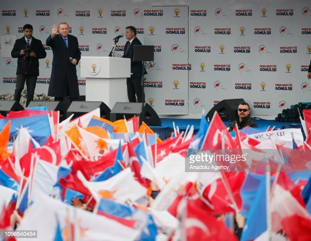 Turkish President and leader of Turkey's ruling Justice and Development Party Recep Tayyip Erdogan greets the crowd in Aydin Turkey on February 9 2019