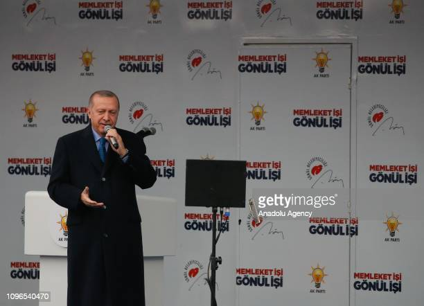 Turkish President and leader of Turkey's ruling Justice and Development Party Recep Tayyip Erdogan addresses the crowd in Aydin Turkey on February 9...