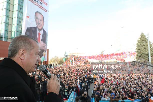 Turkish President and leader of Turkey's ruling Justice and Development Party Recep Tayyip Erdogan addresses people during AK Party's campaign rally...