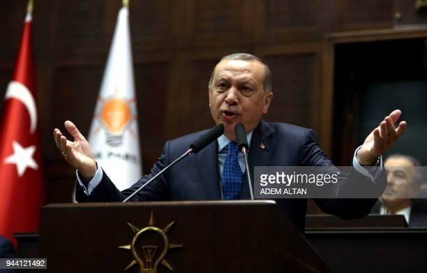 Turkish President and the leader of the Justice and Development Party Recep Tayyip Erdogan delivers a speech during the AK Party's parliamentary...