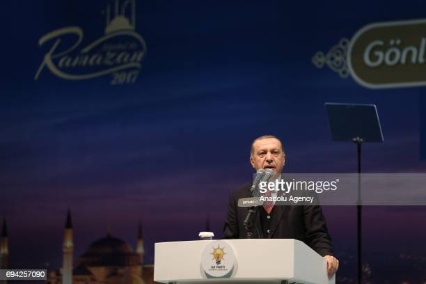 Turkish President and the leader of the Turkey's ruling Justice and Development Party Recep Tayyip Erdogan gives a speech during an Iftar dinner...