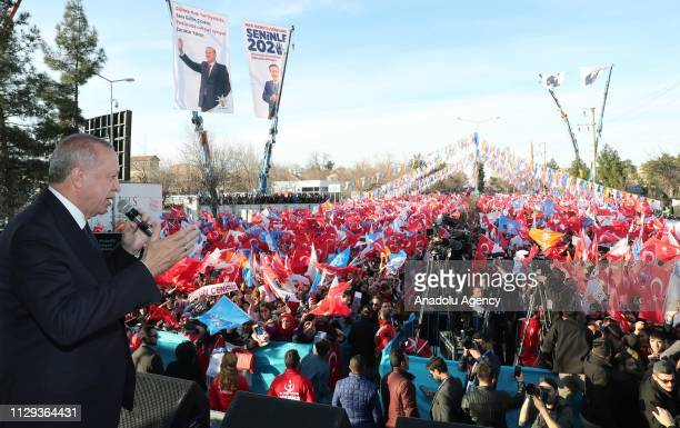 Turkish President and the leader of Turkey's ruling Justice and Development Party Recep Tayyip Erdogan addresses the crowd during a campaign rally...