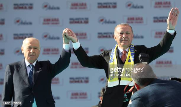 Turkish President and the leader of Turkey's ruling Justice and Development Party Recep Tayyip Erdogan and leader of the Nationalist Movement Party...