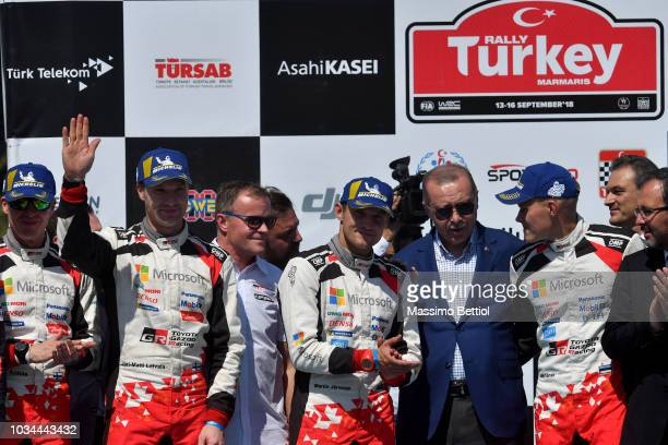 Turkish President Erdogan attend the Prize Giving Cerimonial during Day Three of the WRC Turkey on September 16 2018 in Marmaris Turkey