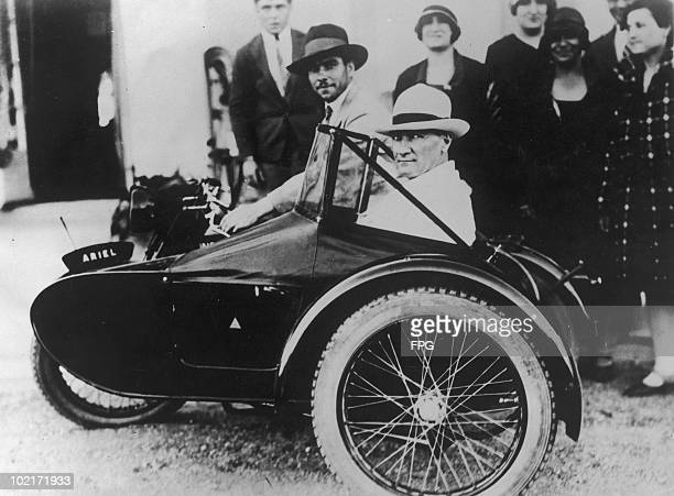 Turkish President Mustafa Kemal Ataturk riding in a motorcycle sidecar Constantinople circa 1925 Ataturk uses the Britishmade Ariel rig to reduce...