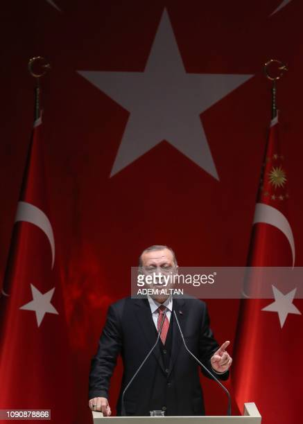 Turkish President Recep Tayyip Erdogan addresses a meeting of provincial election officials at the headquarters of his ruling Justice and Development...
