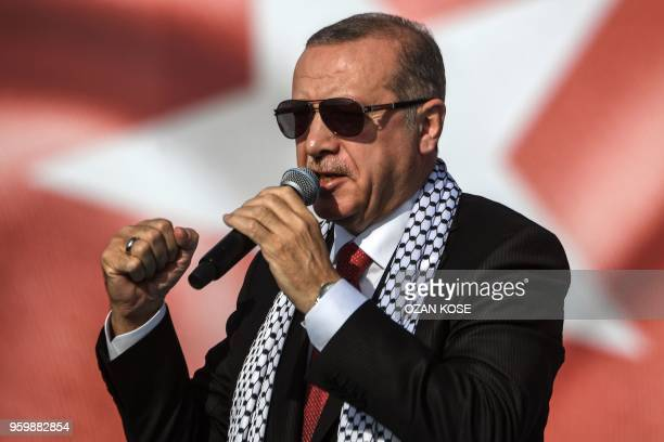 Turkish President Recep Tayyip Erdogan addresses a protest rally in Istanbul on May 18 against the recent killings of Palestinian protesters on the...