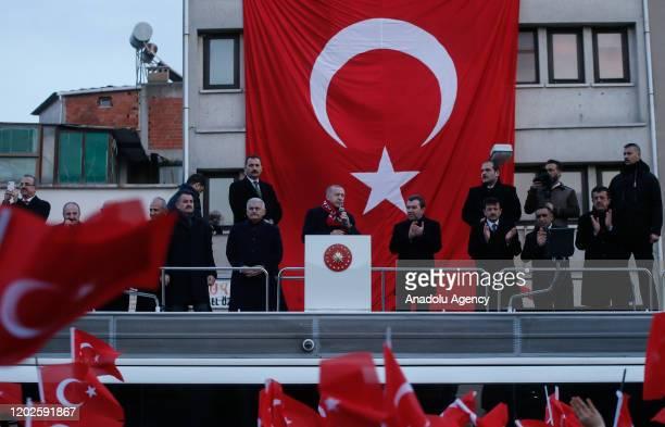 Turkish President Recep Tayyip Erdogan addresses citizens at Bergama district of Izmir in Turkey on February 22, 2020.