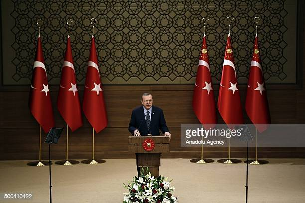 Turkish President Recep Tayyip Erdogan addresses local officials during the mukhtars meeting at the presidential palace in Ankara Turkey on December...