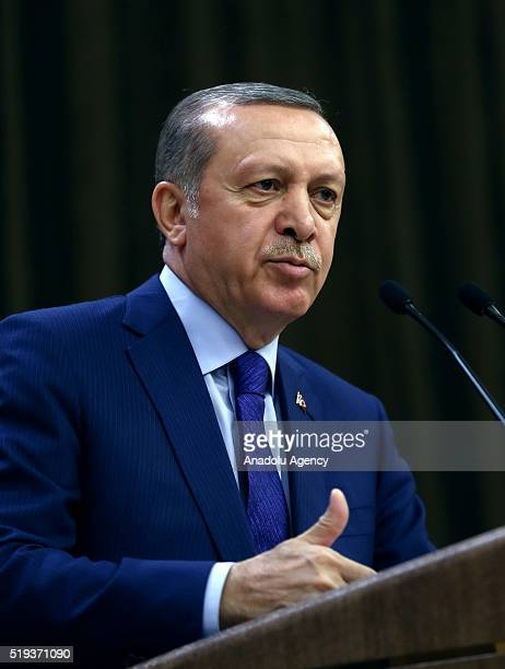 Turkish President Recep Tayyip Erdogan addresses neighborhood leaders during the mukhtars meeting at the Presidential Complex in Ankara Turkey on...