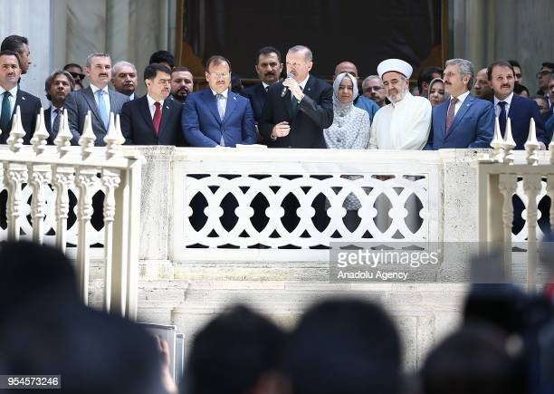 Turkish President Recep Tayyip Erdogan addresses the crowd after performing Friday Prayer with the attendance of Mufti of Istanbul Hasan Kamil...