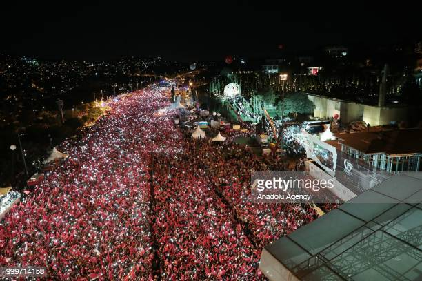 Turkish President Recep Tayyip Erdogan addresses the crowd at 15 July Martyrs Bridge during July 15 Democracy and National Unity Day's events to mark...