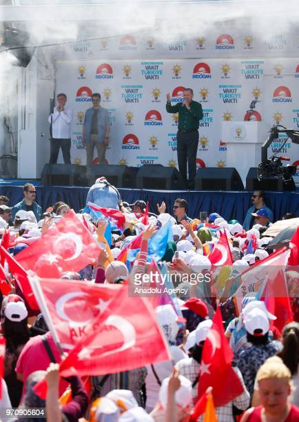 Turkish President Recep Tayyip Erdogan addresses the crowd during an election rally of ruling Justice and Development Party in Denizli Turkey on June...