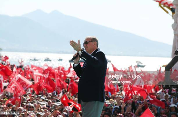 Turkish President Recep Tayyip Erdogan addresses the crowd during 'Izmir Gathering' which is also attended by Turkey's Prime Minister and the leader...