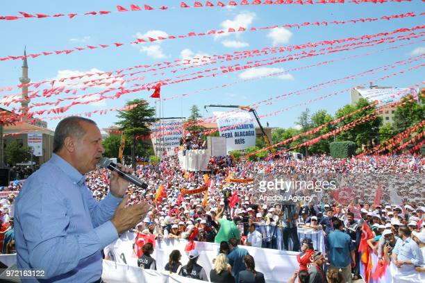 Turkish President Recep Tayyip Erdogan addresses the crowd during Turkey's ruling Justice and Development Party's rally in Eskisehir Turkey on June...