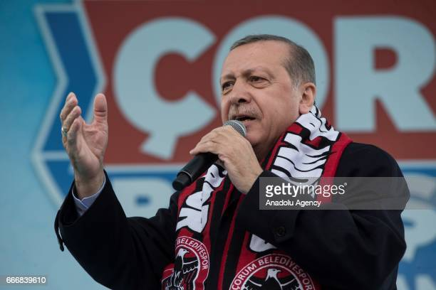 Turkish President Recep Tayyip Erdogan addresses the crowd during the meeting titled 'Corum Gathering' as part of 'yes' campaign prior to the...
