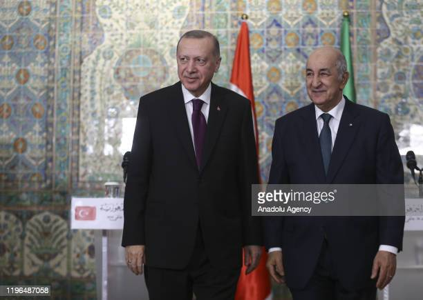 Turkish President Recep Tayyip Erdogan and Algerian President Abdelmadjid Tebboune hold a joint press conference following their meeting at...