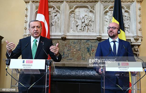 Turkish President Recep Tayyip Erdogan and Belgian Prime Minister Charles Michel hold a joint press conference following their at the Royal Palace in...