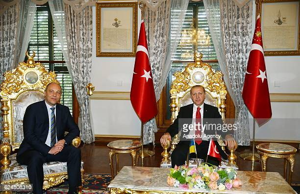 Turkish President Recep Tayyip Erdogan and Chairman of the Ukrainian Parliament Andriy Parubiy pose for a photo during their meeting at Mabeyn Palace...