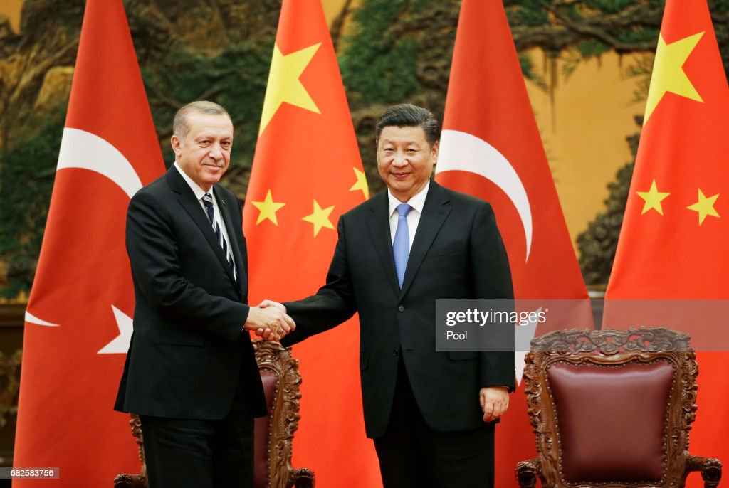 Turkish President Recep Tayyip Erdogan and Chinese President Xi Jinping attend a signing ceremony in Beijing : News Photo