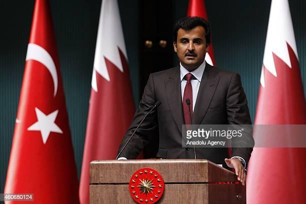 Turkish President Recep Tayyip Erdogan and Emir of Qatar Sheikh Tamim bin Hamad bin Khalifa Al Thani hold a press conference during the ceremony of...