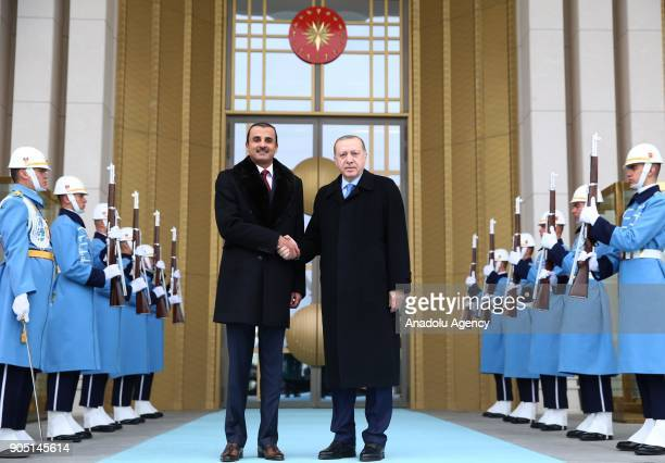 Turkish President Recep Tayyip Erdogan and Emir of Qatar Sheikh Tamim bin Hamad Al Thani shake hands as they pose for a photo during their meeting at...