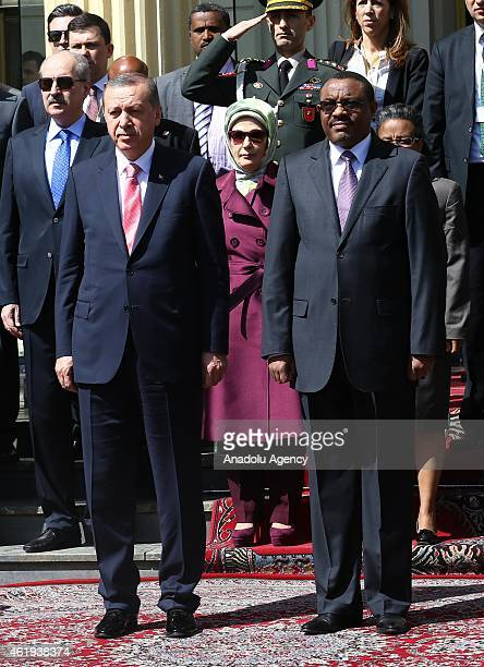 Turkish President Recep Tayyip Erdogan and Ethiopian Prime Minister Hailemariam Desalegn review the guard of honor during the welcoming ceremony at...