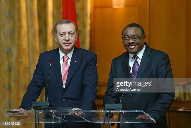 Turkish President Recep Tayyip Erdogan and Ethiopian Prime Minister Hailemariam Desalegn hold a joint press conference after their meeting in Addis...