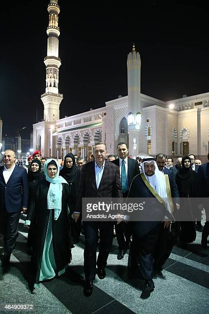 Turkish President Recep Tayyip Erdogan and First Lady Emine Erdogan visit AlMasjid alNabawi also called as the Prophet's Mosque in Medina Saudi...