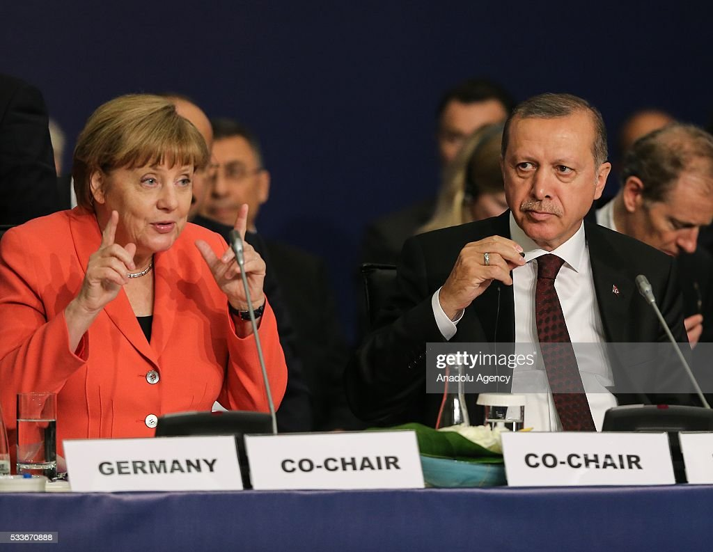 Turkish President Recep Tayyip Erdogan (R) and German Chancellor Angela Merkel (L) attend the High-Level Leaders' Roundtables meeting on 'Political Leadership to Prevent and End Conflicts' at the Emirgan Hall (ICC) within the World Humanitarian Summit in Istanbul, Turkey on May 23, 2016.
