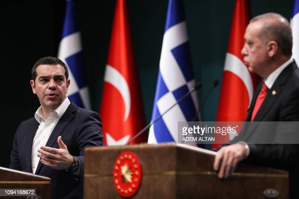 Turkish President Recep Tayyip Erdogan and Greek Prime Minister Alexis Tsipras speak during a joint press conference following a meeting at the...