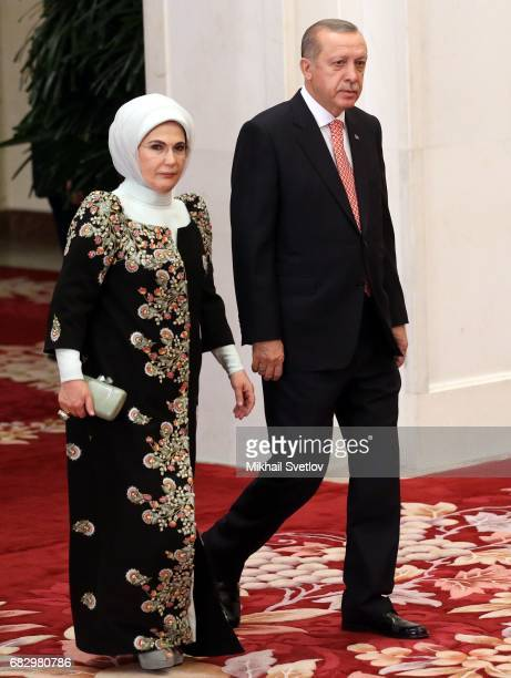 Turkish President Recep Tayyip Erdogan and his wife Emina Erdogan arrive to the dinner during the Belt and Road Forum for International Cooperation...