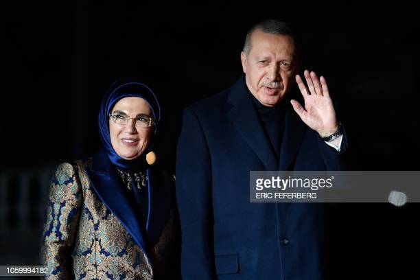 Turkish President Recep Tayyip Erdogan and his wife Emine arrive at the Musee d'Orsay in Paris on November 10, 2018 to attend a state diner and a...