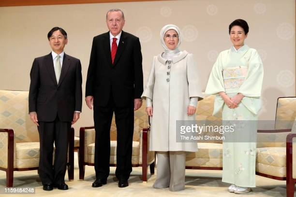 Turkish President Recep Tayyip Erdogan and his wife Emine Emperor Naruhito and Empress Masako pose for photographs prior to their meeting at the...