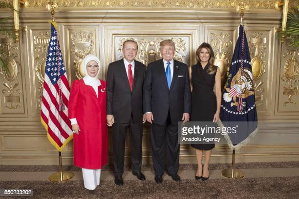 Turkish President Recep Tayyip Erdogan and his wife Emine Erdogan pose for a photo with US President Donald Trump and his wife Melania Trump during...