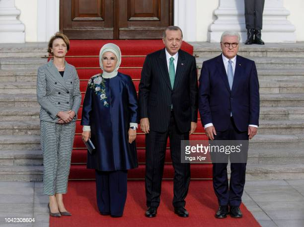 Turkish President Recep Tayyip Erdogan and his wife Emine Erdogan are welcomed by German President FrankWalter Steinmeier and his wife Elke...
