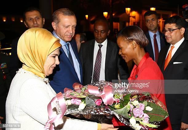 Turkish President Recep Tayyip Erdogan and his wife Emine Erdogan are welcomed at the Jomo Kenyatta International Airport upon their arrival in...