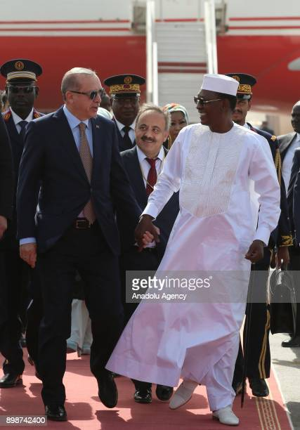 N'DJAMENA CHAD DECEMBER 26 Turkish President Recep Tayyip Erdogan and his wife Emine Erdogan are welcomed by President of Chad Idriss Deby and his...