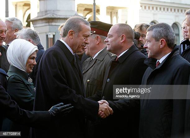 Turkish President Recep Tayyip Erdogan and his wife Emine Erdogan arrives at House of Blackheads in Riga during President Erdogan's official visit to...